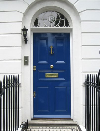How stunning is this blue door! The colour has such a presence and would immediately catch anyone\u0027s eye. Coupled with the brass and black accents ... : blue doors - pezcame.com